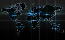 Incorniciato stampa-NEON BLUE ELETTRONICO stile World Map (PICTURE POSTER Globe Art)
