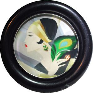"""Glass Dome Button Vogue Flapper in Resin Setting 1 & 15/16""""   FREE US SHIPPING"""