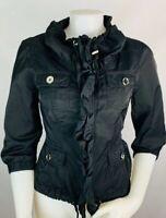 WHBM 6 Women's Jacket Blazer Zip Up Ruffle Detail Black Coat Safari Utility
