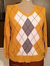 Womens Clothing Top Sweater Blouse Yellow Business Casual Professional Petite PL