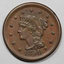 1850 N-6(c) Braided Hair Large Cent Coin 1c