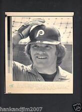 Pete Rose 1982 Phillies Vintage A/P Laser Wire Photo with caption
