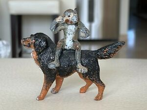 Old Cold Painted Bronze Model of a Monkey Sitting on Dog Figurine