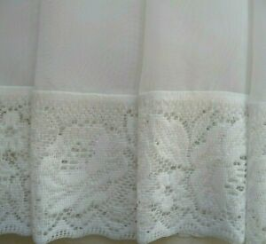 2m wde x 30cm drop WHITE Voile Sheer + Donna Lace Curtain Valance Kitchen Cafe