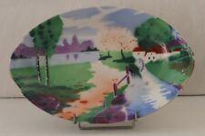 Ancien plat décoratif en porcelaine de Limoges, décor au pochoir