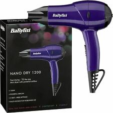 BaByliss Nano Travel Mini Hair Dryer 1200W 2 Heat/Speed Settings, 5282BDU Purple