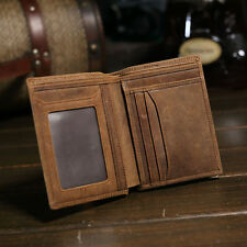 Mens Leather Wallet Bifold Vintage Brown Purse Id/credit Card Holders Case