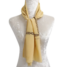 "CelineScarf Oblong Yellow Signature Silk11*46"""