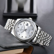 Parnis 39mm sapphire Silver dial date Miyota 8215 Automatic movement Men's Watch