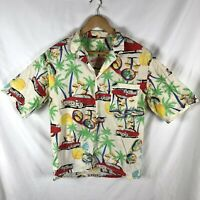 Vintage HAWAIIAN 1950's Rare Shirt Made In USA Size M PALM Trees Cars Surfing