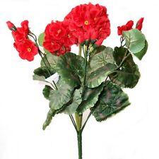 36cm Artificial Geranio Arbusto Con Flores Rojas-Decorativo planta de plástico
