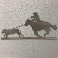 calf roping 1 Metal Wall Skilwerx 15 x 7 cowboy w West 1