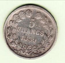 LOUIS PHILIPPE 5 FRANCS 1839 D  rare cote 200 euro TB
