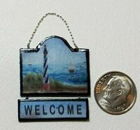 Lighthouse Nautical Welcome Sign Dollhouse Miniature 1:12 HANDCRAFTED by Me