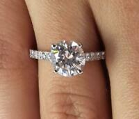 3 Carat Round Cut Diamond Engagement Ring VS2/F White Gold 14k 6209