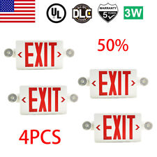 4pack Led Exit Sign Emergency Lighthi Output Compact Combo Ul Listed Red Fire