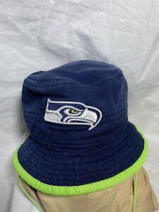 Seattle Seahawks Vintage New Era NFL Training Camp Sideline Bucket Hat Navy/Lime