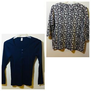 Ladies Size 18 Two Tops Navy Long Sleeve Floral 3/4 Sleeve Casual Office