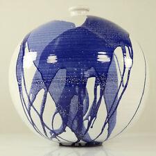 Hallstatt Keramik Kugel Vase 31 cm Tintenklecks Lauflasur Austria 70er Jahre