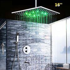 LED Chrom Regendusche Multifunktions Thermostat 40cm Dusch Set Unterputz Messing