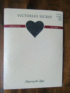 VICTORIA'S SECRET JET BLACK LINGERIE FOR LEGS SHEER CONTROL TOP PANTYHOSE S NEW