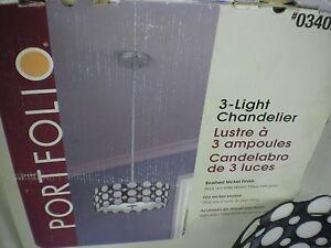 Portfolio 3 Light Tiffany Style Chandelier #340270 Black & White Stained Glass