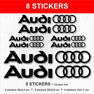 8 Stickers Noir ANNEAUX AUDI Autocollants Adhésifs compatible A3 A4 A5 A6 S3 S4