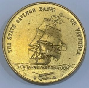 1970 Capt Cook Bicentenary State Savings Bank of Victoria Medal 150K Minted Gold
