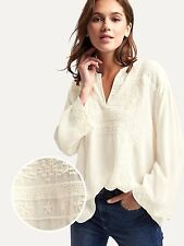 NWT Gap Flowy embroidered top, Snow Cap SIZE L     #357389  v4