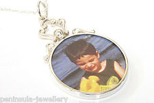 "Sterling Silver Round Double Sided Photo frame pendant and 18"" chain Gift Boxed"