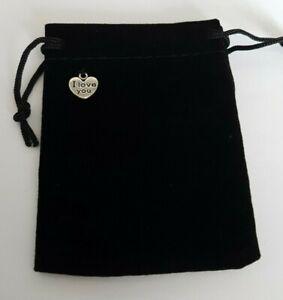 I Love You Black Velvet Drawstring Gift Bag, Perfect for Jewellery