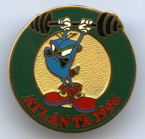Atlanta 1996 Mascot Izzy Weightlifting Olympic Games Badge Pin Nice Grade !!!