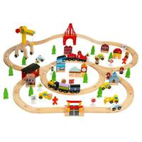 100 PCS Hand Crafted Wooden Train Set Crossing Railway Track Kids Toy Play Set