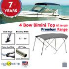 4 Bow Bimini Top Premium Range 61 - 66 Width 8ft Long Grey With Rear Poles