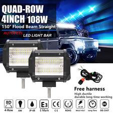 2x OSRAM 4Inch 108W 8D+ Quad Row Led Work Light Bar Flood Spot Driving Truck 4WD