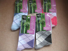 Ladies Bamboo socks ,Argyle, Sizes 3-5, 5-7, 5 colours