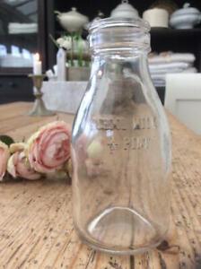 ~So Cute! Vintage Glass SCHOOL MILK Bottle~Perfect for Flowers!~