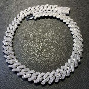 18 Inch 925 Sterling Silver Iced Out Diamond Hip Hop Cuban link chain!!