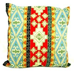 "Vtg Moroccan Hooked Wool Pillow Tribal Boho Floor Cushion Multicolor Large 22"""