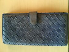 EUC Authentic Bottega Veneta Woven Leather Continental Wallet Denim Blue
