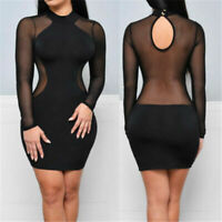 Sexy Women Mini Bandage Cocktail Evening Dress Long Sleeve Club US Party Bodycon