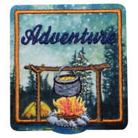 """Adventure Patch - Camping, Hiking, Nature Badge 2.25"""" (Iron on)"""