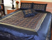 Navy Blue Silk Bed Cover Flat Sheet Sham Set Embroidered Full Queen from India