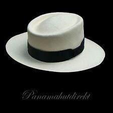 "Genuine Panama Hat from Montecristi ""Gambler"" 15 weaves - Men Woman Straw Fedora"