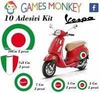 ADESIVI MOTO VESPA kit PIAGGIO Bandiere Italia Cerchio Casco ET2 ET4 PX…