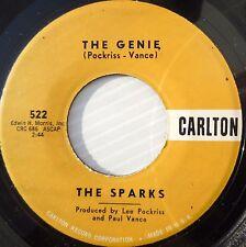 THE SPARKS doo-wop on VG++ CARLTON 45 THE GENIE b/w GEE THAT'S BAD PJ107