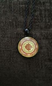 Sri Yantra Buddhist Sacred Geometry Necklace With Black Necklace.