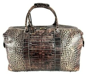 DOONEY and BOURKE Authentic Croc Patent Brown Leather Duffel Bag Made in Italy