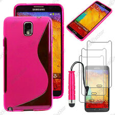Housse Etui Coque Silicone Rose Samsung Galaxy Note 3+ Mini Stylet + 3 Films