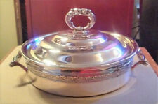 TWO SILVER-PLATED SERVING DISHES, WITH LIDS, 1950, one Mis-Match with Older Lid